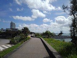 北側の駐車場から海沿いに出て南下。「しおかわ橋」という小橋を渡り、さらに歩くとビーチに辿り着く。