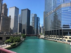 Chicago river tour showing the Trump tower.