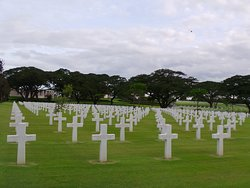Similar to the memorial cemetery in Normandy, rows of US and Filipino soldiers who fell in the Philippines