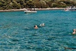 Blue Lagoon islands Krknjaši swimming.