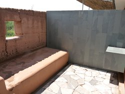 The patio area at the back