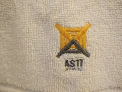 towel with the hotel's logo