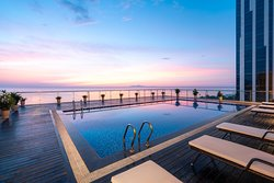 Outdoor pool with panoramic view to My Khe beach