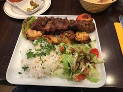 mixed grill with rice & salad