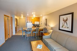 One bedroom suite has a separate living room, kitchen and a breakfast bar.