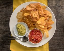 Potato + Yuca chips, guacamole & salsa - all homemade on site