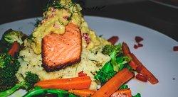 Salmon dish with avocado salsa.