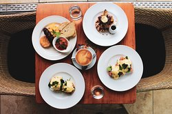 Top Left - Big Breakfast Top Right - Belgium Waffle  Bottom Left - Eggs Benny  Bottom Right - Eggs Royale Middle - Flat White