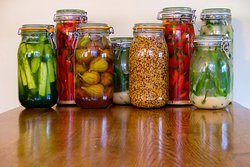 Homemade pickles and ferments
