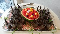 Choco-verrines et salade de melons