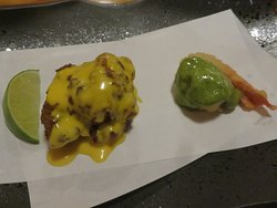 Hot duo of Jerk Chicken Thigh and Fried Crunchy Wasabi Prawn.