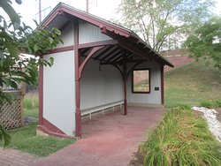 Replica of the train stop shelter