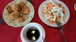 fish cake, salad