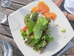 A great Brunch with poached eggs and smoked salmon.