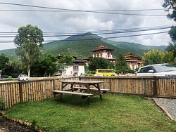 outdoor seating with the view of the dzong