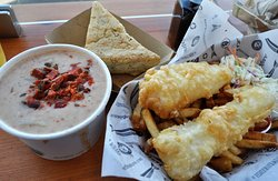 Yummy 3-way salmon chowder with delicious focaccia bread; fresh tender halibut fish and chips.