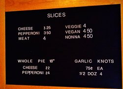 Some items listed on the board at ordering counter