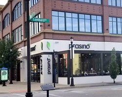 front of & entrance to Prasino