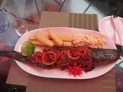 Grilled Catfish & Yam Chips