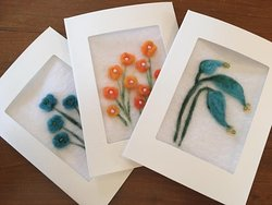 Offering hand made needle felted greeting cards, PEI wool, all one of a kind