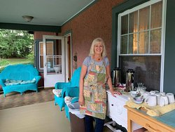 This is Cathy as she was setting up for one of the breakfasts.