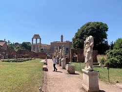 Temple of Caster & Pollux (3 columns) from in front of the House of the Vestal Virgins