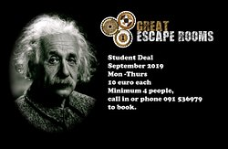 Student Deal September 2019 Mon -Thurs 10 euro each  Minimum 4 people, call in  or phone 091536979 to book