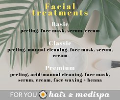 Facial treatments in our SPA