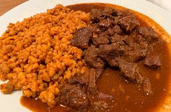 Traditional gulash with a twist.  Tender and flavorful. Not too salty or strong. Yum!