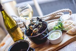 Classical Moules Marinières with White Wine, Shallots, Garlic, Cream & Parsley, Toasted Ciabatta