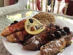 Ricotta french toast with a lemon-blueberry sauce