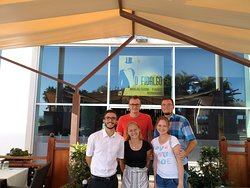 "Our last day on the island wouldn't be complete without the photo with our friend from ""O Fidalgo"" restaurant :)"