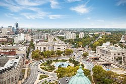 View from hotel of the Benjamin Franklin Parkway and the Franklin Institute.