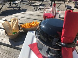 Nice Pot of Mussels served with Chips and Bread to soak up the wonderful sauce