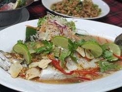 Very pleasant dinner, fish, shrimp, very tasty.