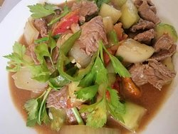 spaghetti. Lao steak. chicken cashew nut. family kao soi. vegetable tempura.Lao salad .fried mixed vegetable