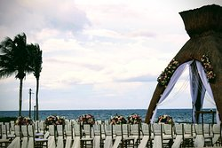 A seating setting for a wedding.