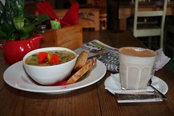 Soup of the day with Chai for lunch