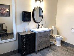 Conestoga Camp Bath sink and toilet. Very spacious.