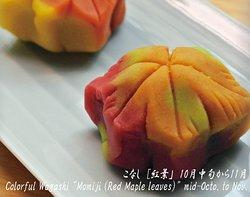 """こなし [紅葉」 10月中旬から11月 Colorful Wagashi """"Momiji (Red Maple leaves)"""" mid-Octo. to Nov."""