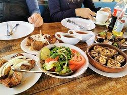 Pork BBQ, moshrooms, salads