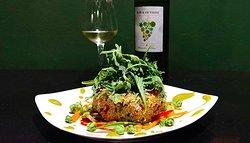 Quinoa salad, fresh pine nuts, crunchy vegetables and a mustard vinaigrette dressing.