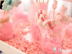 Candy bar para eventos bodas. Tonos rosas, con gominolas y caramelos.