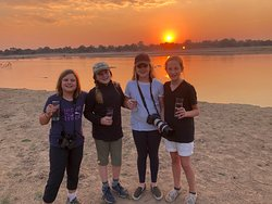 Sundowner on the Luangwa RIver - watching hippos and elephants !!!!!