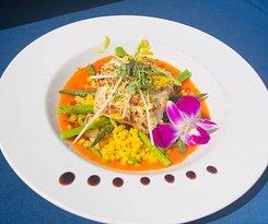 Black grouper saffron risotto
