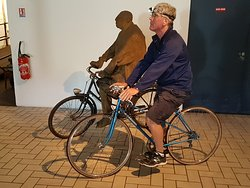 Testing out the headlamp and vintage bike at Bouvet-Ladubay for our cave tour of the cellars