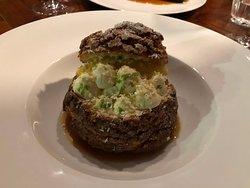 choux bun with white chocolate dessert