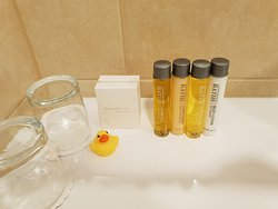 Free toiletries in the room - little rubber duck a cute touch