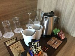 Room detail. Complimentary coffee tea biscuits and chocolate.
