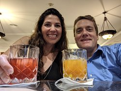 Wife and I having pre-dinner cocktails at the Don Miguel bar.